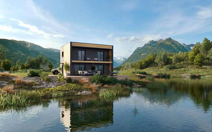 plan maison toit plat Altais
