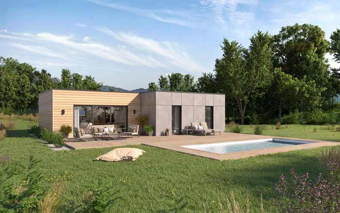 plan maison toit plat o
